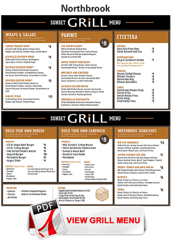 View Northbrook Sunset grill menu