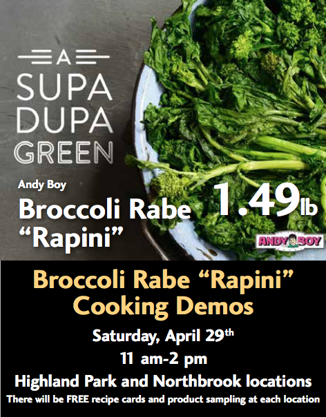 Broccoli rabe cooking demo invitation