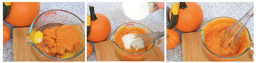 Image of pumpkin, sugar, eggs, and oil being whisked together