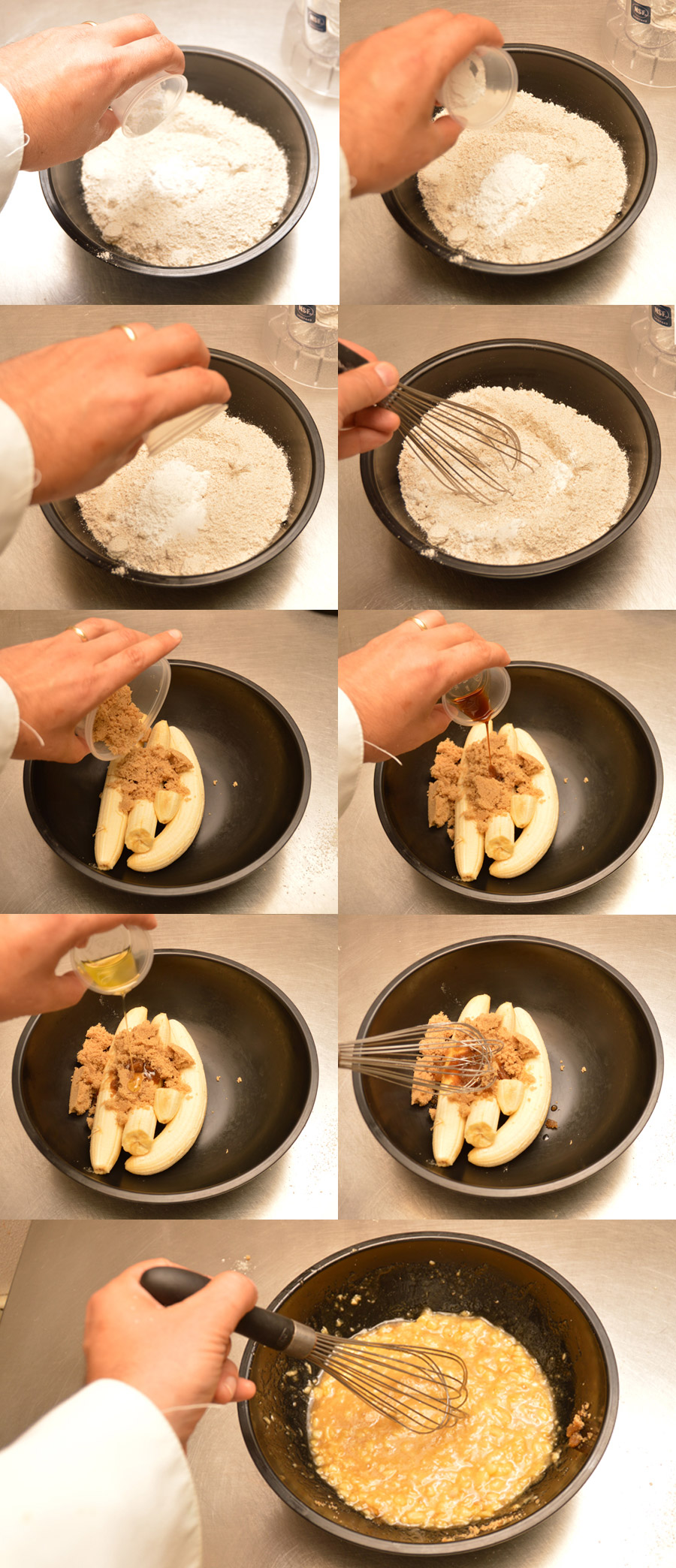 Combining the sugar, bananas, and oil
