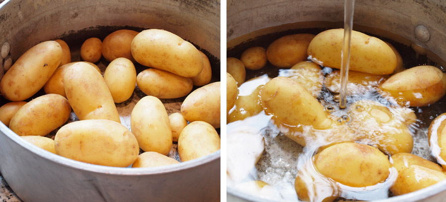 Potatoes cooking in boiling water