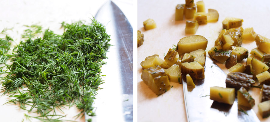 Chopped pickles and dill weed