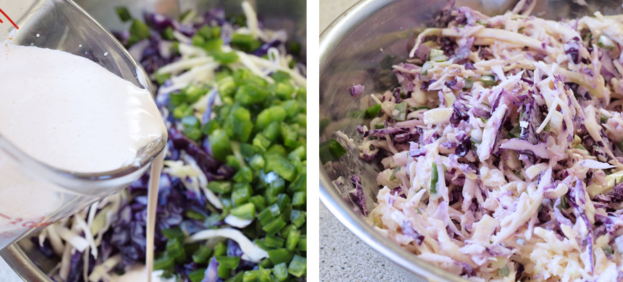 Pouring the coleslaw dressing over the cabbage