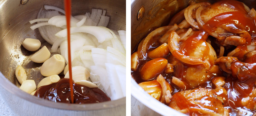 Coating the chicken and onions in barbeque sauce