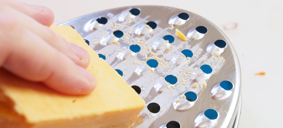 Grating the cheese