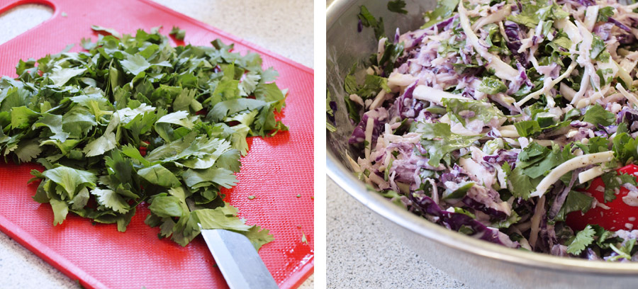 Chopping the cilantro and tossing it in coleslaw