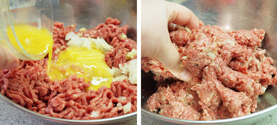 Adding egg and mixing together the burger base