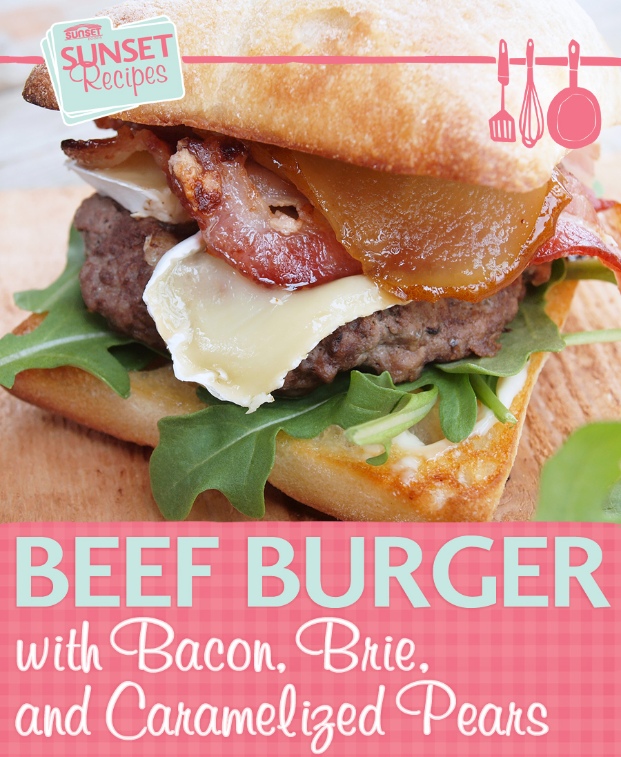 Bacon Brie and Pear Burger
