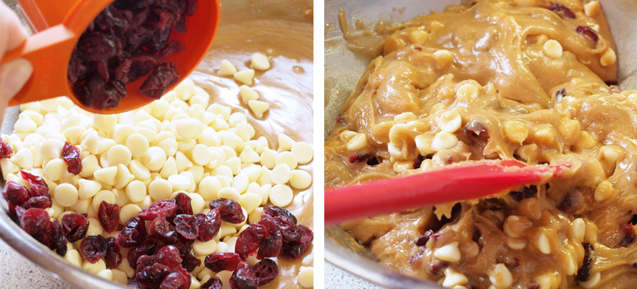 Mixing white chocolate and dried fruit into the batter