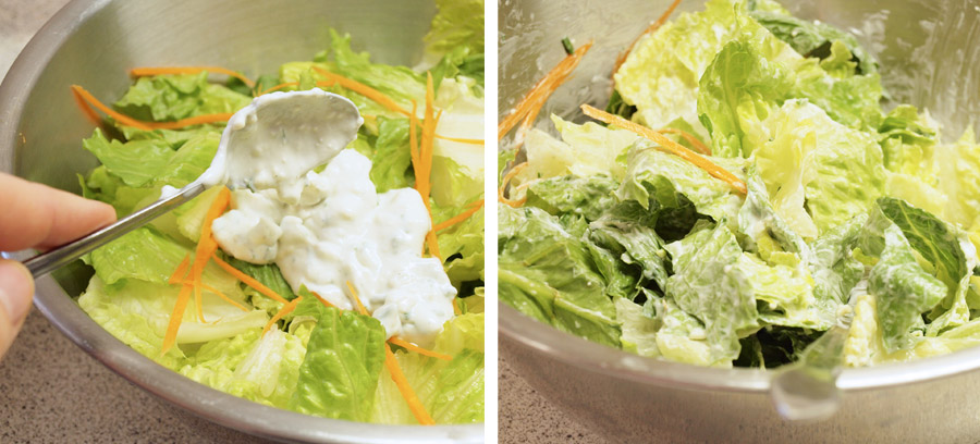 Tossing lettuce in blue cheese dressing