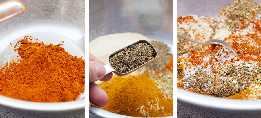 Combining spices for cajun mix