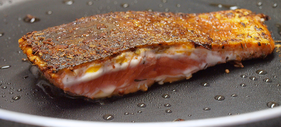 Crispy salmon cooked to perfection