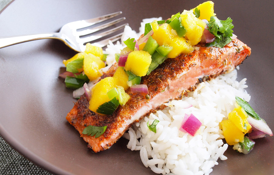 Salmon and salsa over a bed of rice