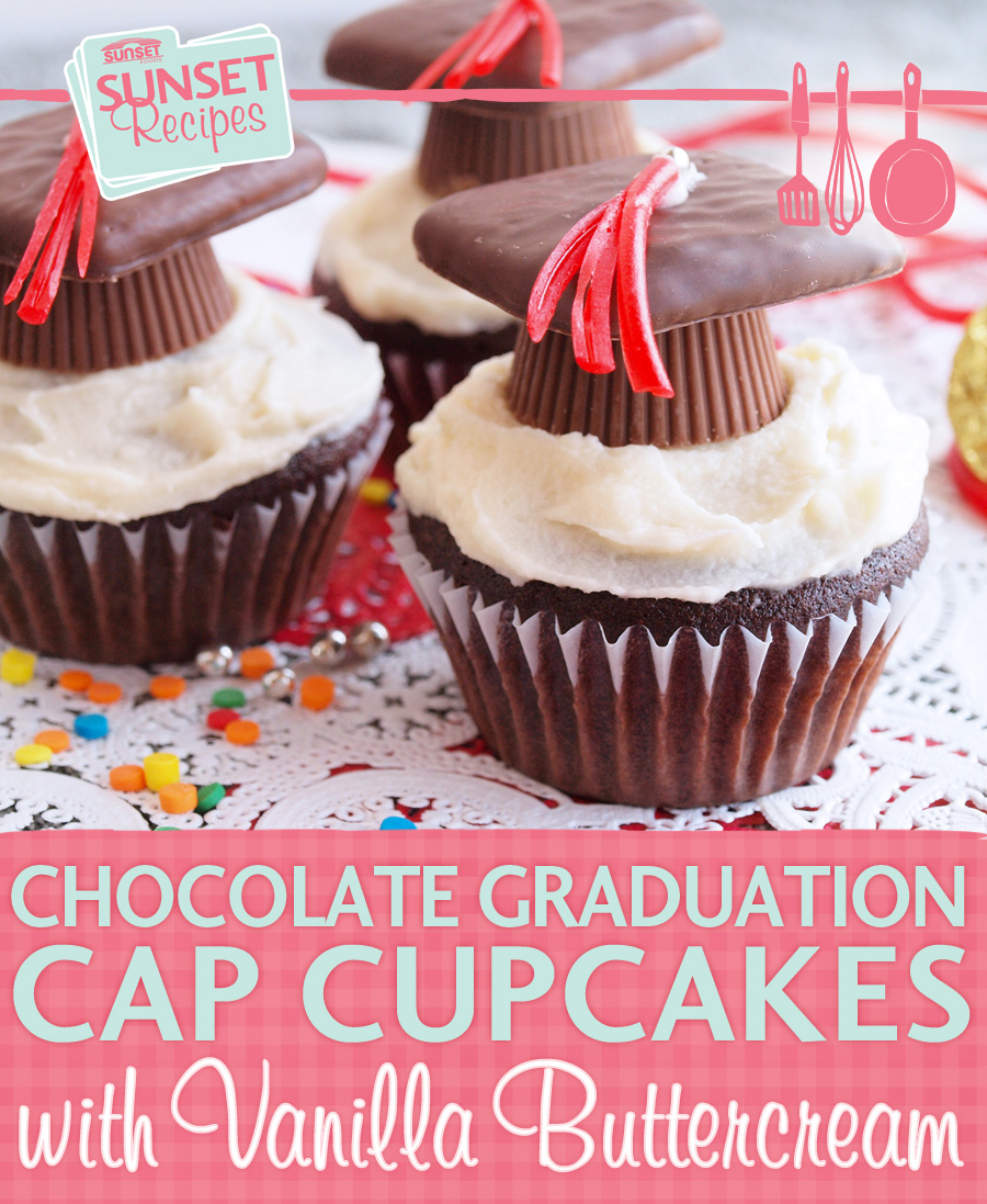 Graduation cupcakes on a platter