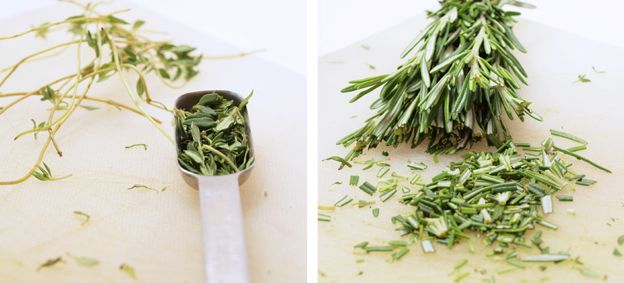 Measuring out thyme and rosemary