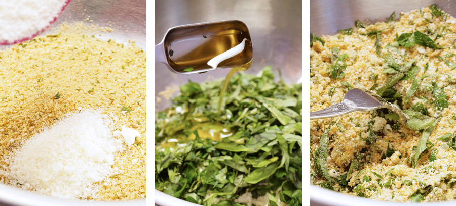Mixing together herbs and breadcrumbs
