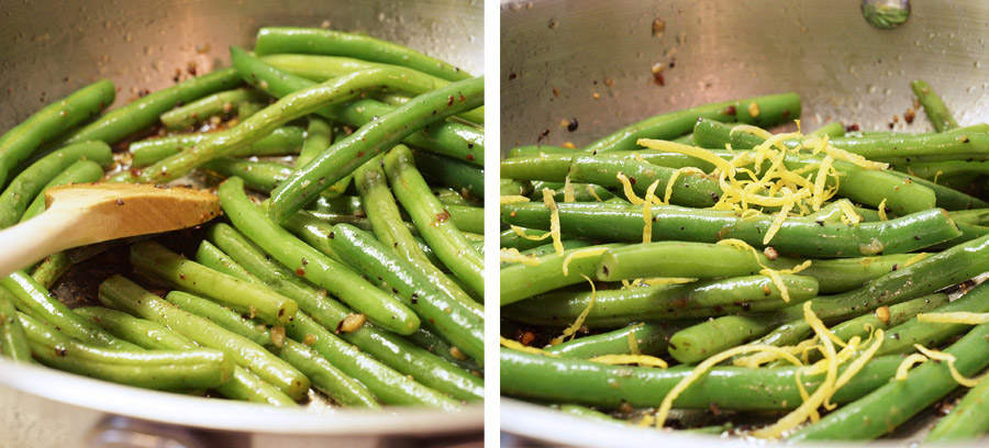 Green beans garnished in lemon