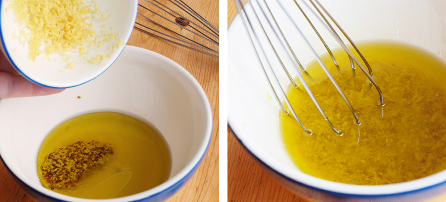 Whisking together lemon, oil, and mustard