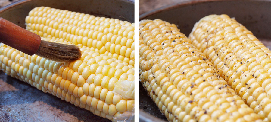 Seasoned corn cobs brushed with butter