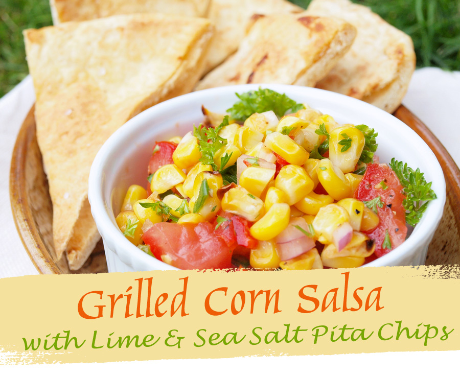 corn salsa and pita chips