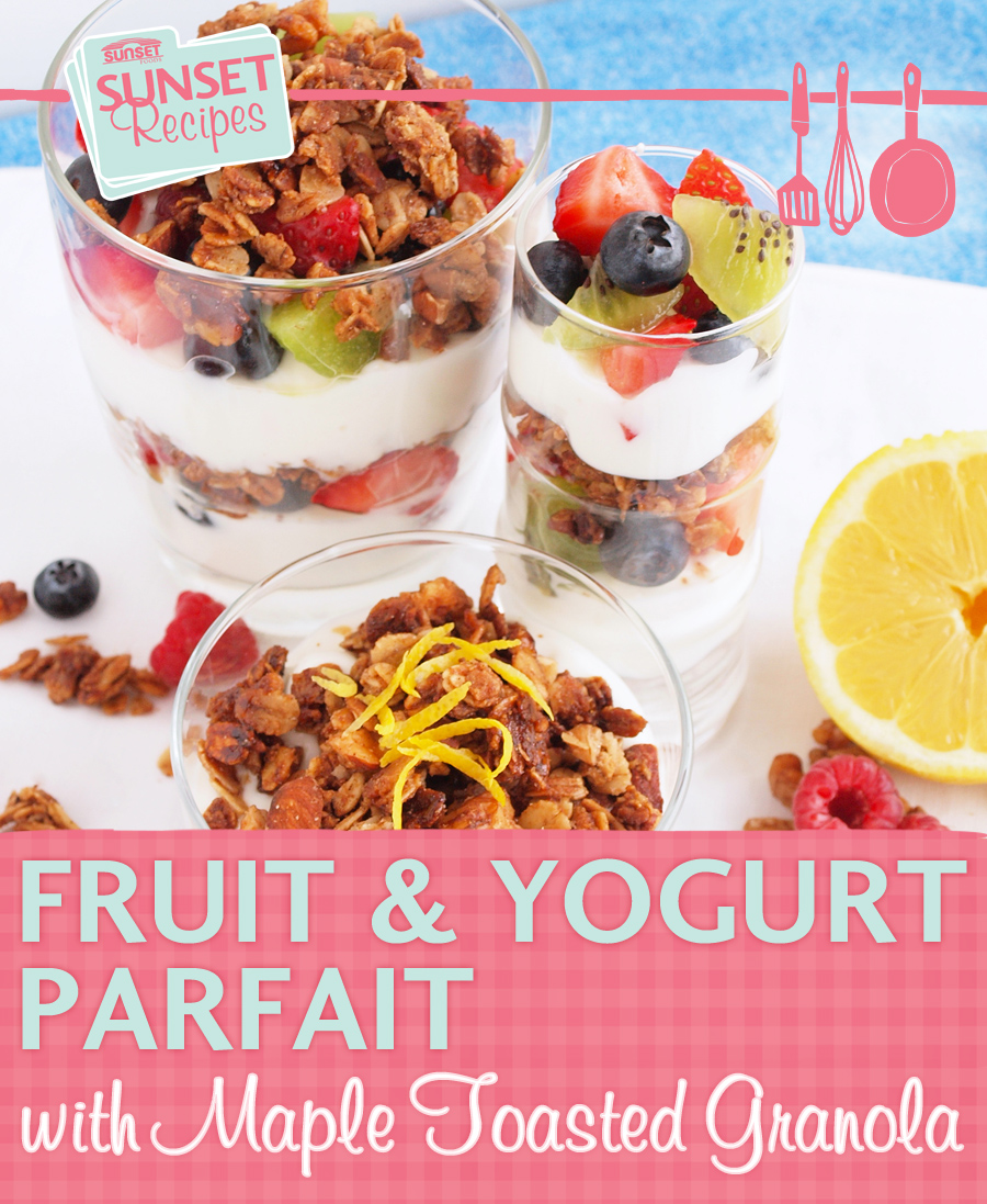 Fruit yogurt and granola parfaits