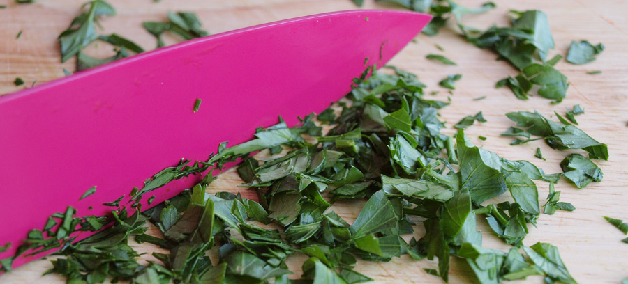 Chopping the parsley