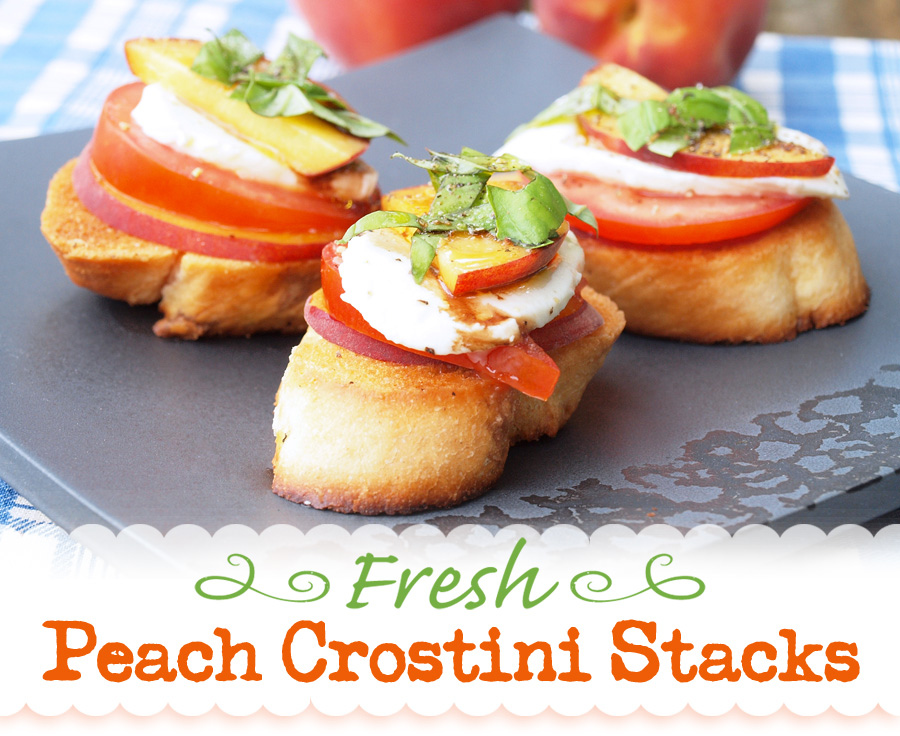 Peach crostini stacks