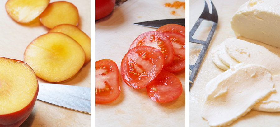 Sliced peaches, tomatoes, and cheese