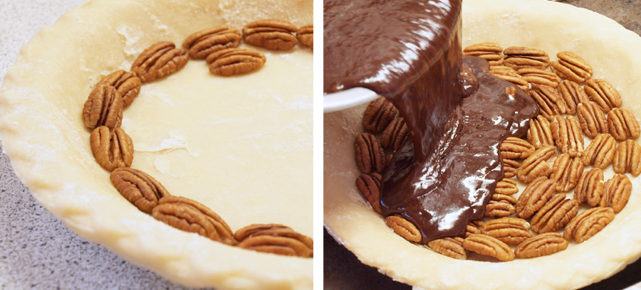 Layering pecans and chocolate in a pie shell