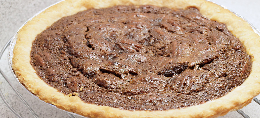 Pecan pie after baking in the oven