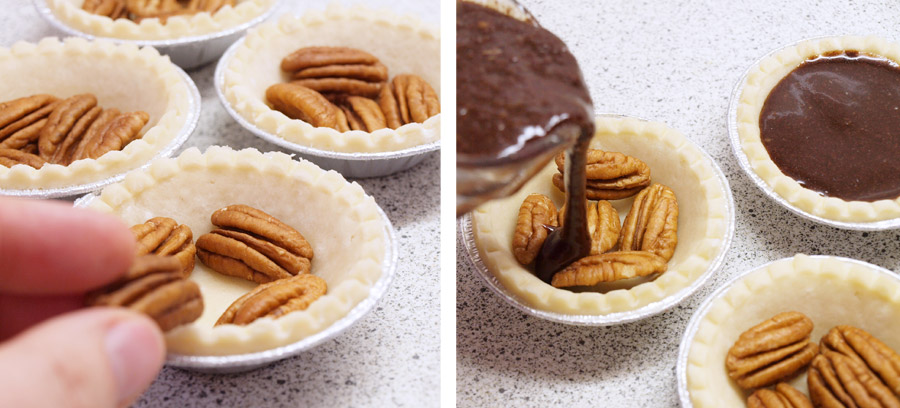 Preparing pecan pie tarts
