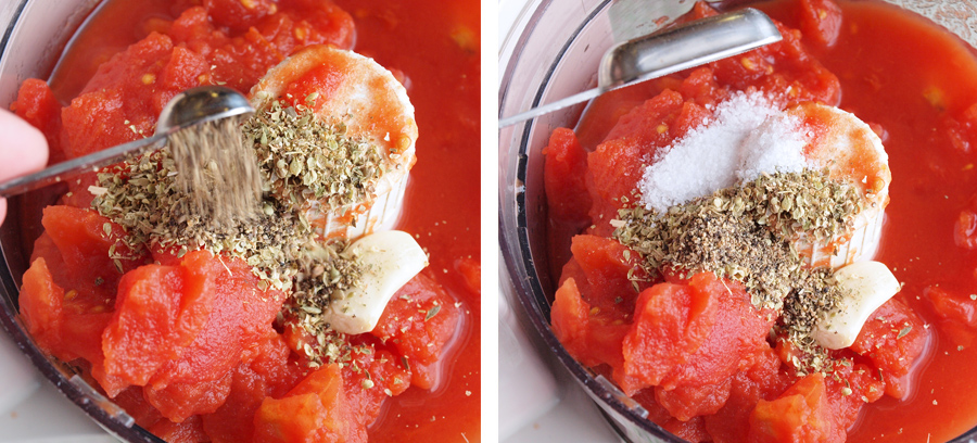 Adding spices to the tomatoes