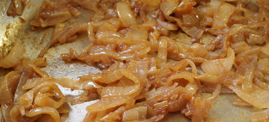 Onions cooked until dark brown