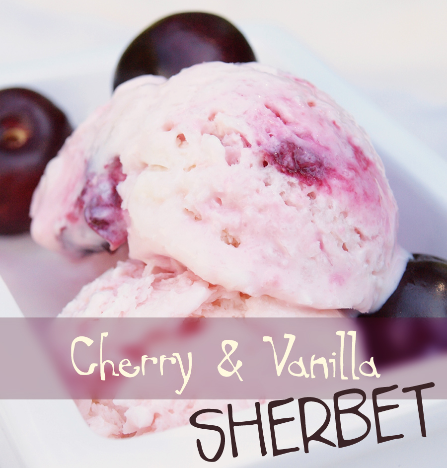 Scoop of vanilla cherry sherbet