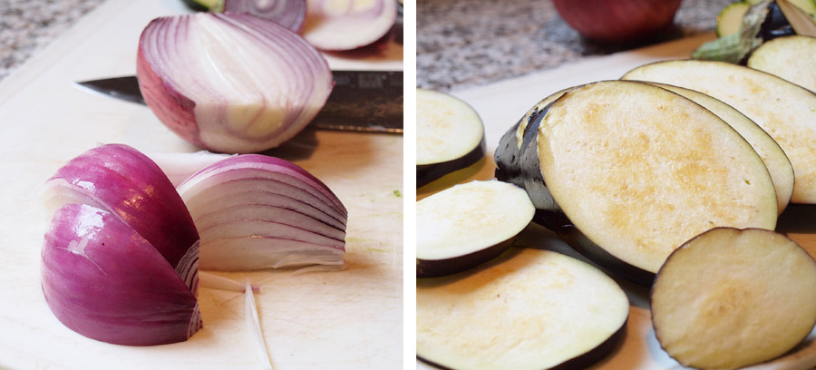 Sliced onion and eggplant