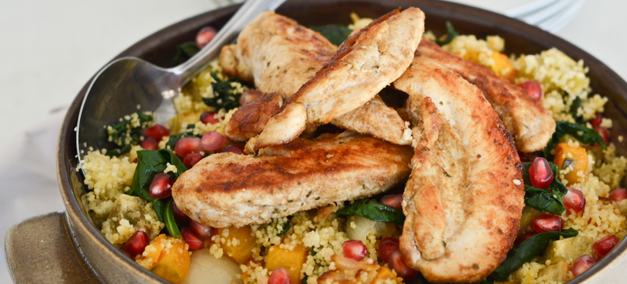 Chicken tossed in winter couscous salad