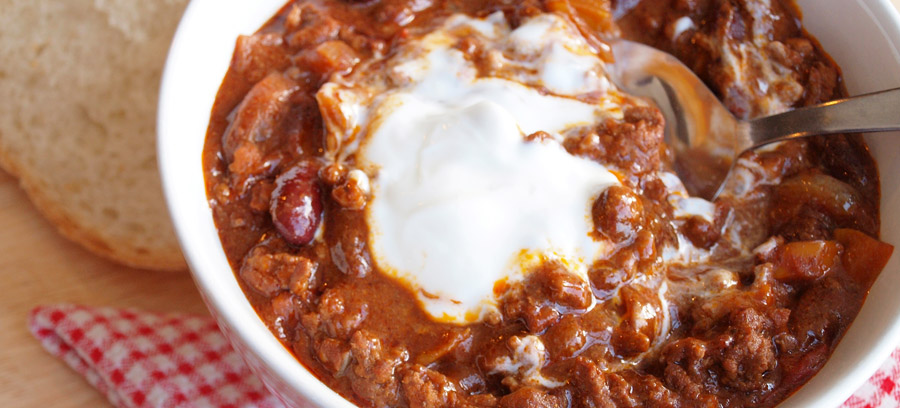 Beef and sausage chili with a dollop of sour cream