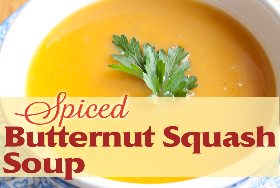 A bowl of spiced butternut squash soup
