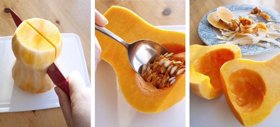 Scooping out the seeds and halving the squash