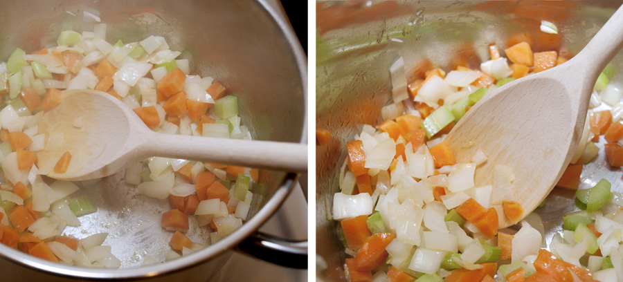 Sauteing the vegetables