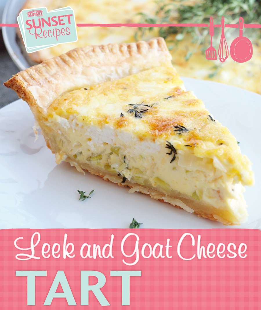 A leek and goat cheese tart slice