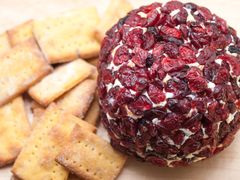 Cheeseball with Dried Cranberry Coating