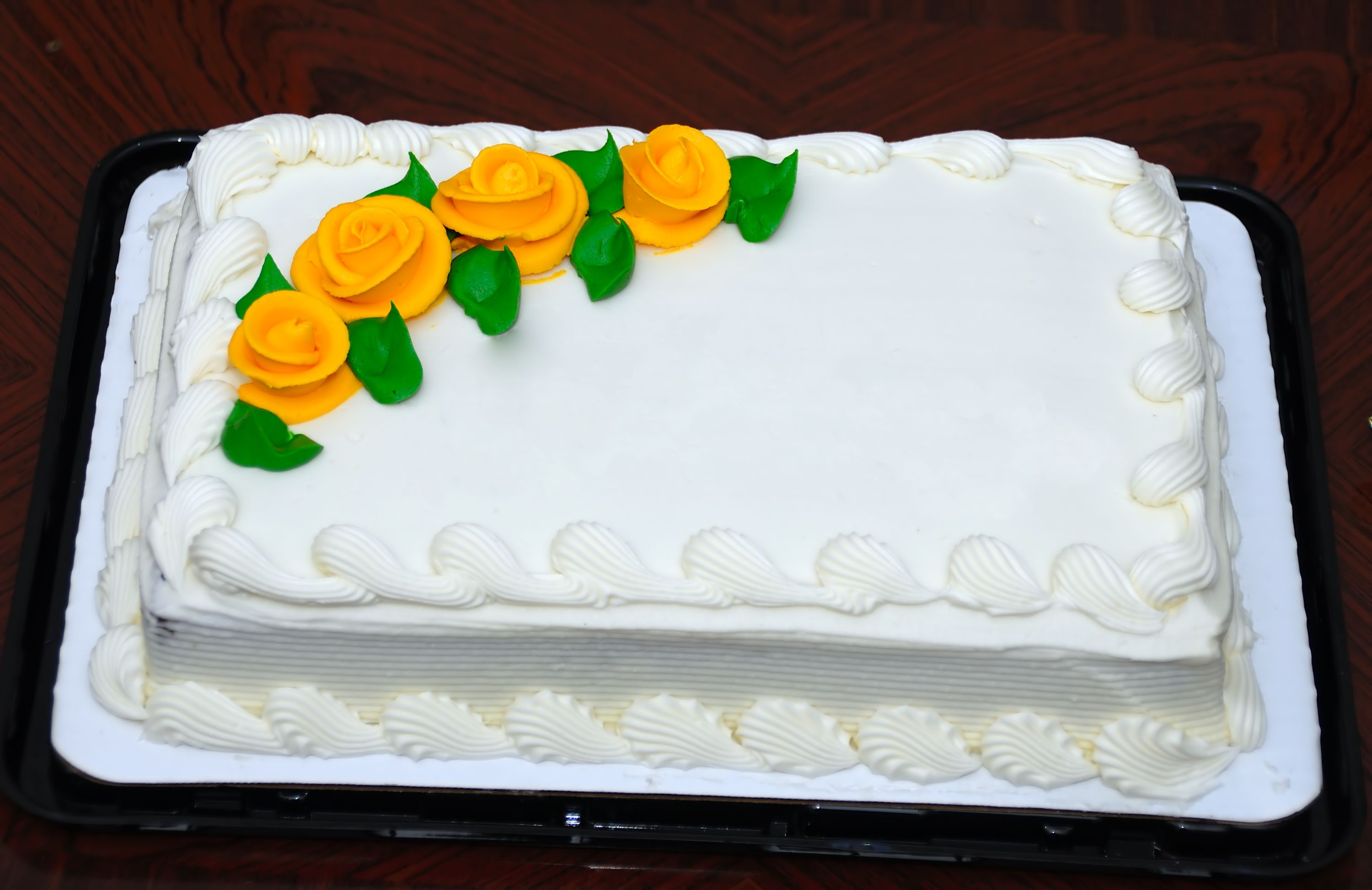 White Sheet Cake with Flower Art