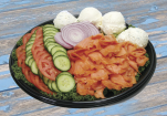 Lox Tray with Cream Cheese, Tomatoes, Onions, Cucumber