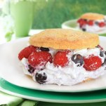 Strawberry Shortcake with Blueberries, Raspberries & Cream