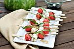 Caprese Skewer Made With Mozzarella, Cherry Tomato, and BAsil