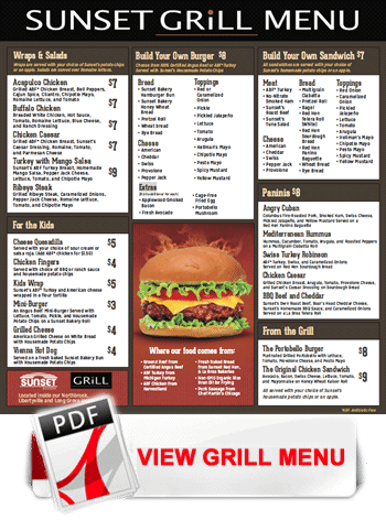 View Sunset grill menu