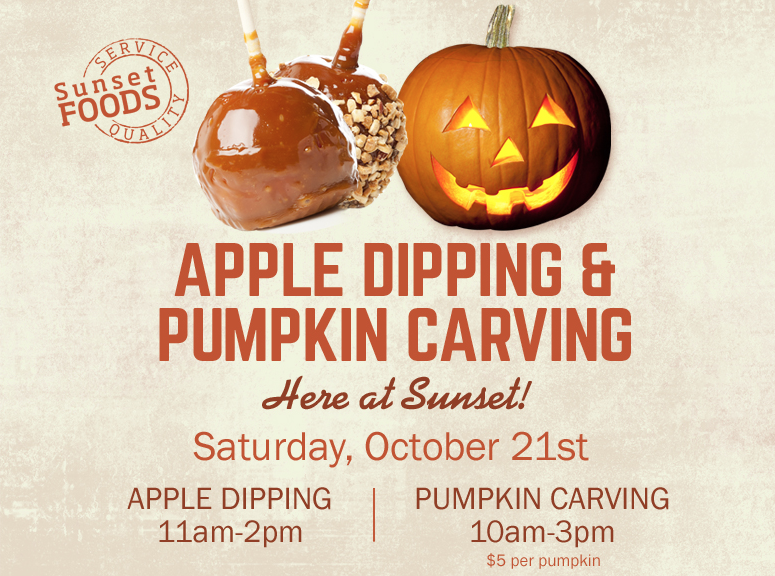 Apple dipping pumpkin carving event poster