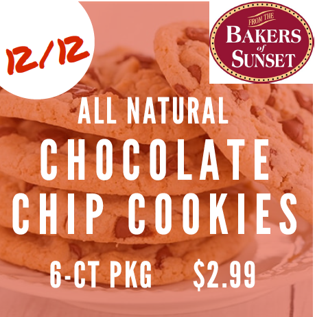 Sunsets all natural chocolate chip cookies 6 ct package 2.99